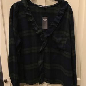 NWT LS Plaid Top w/ Small Ruffle at Neck